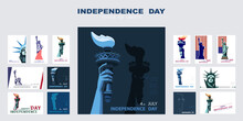 Independence Day Poster, Hand With Torch, Presentation, Banner. Statue Of Liberty, Set Of Flat Blue Design Templates. USA Flag, Holiday. Symbol Of America. New York. Advertising Text Header, Vector