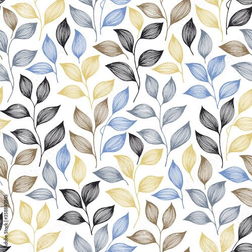 Obraz Wrapping tea leaves pattern seamless vector illustration. - fototapety do salonu