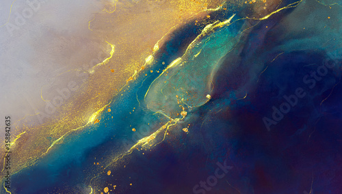 Photo golden abstract elements on a stylish background with watercolor texture