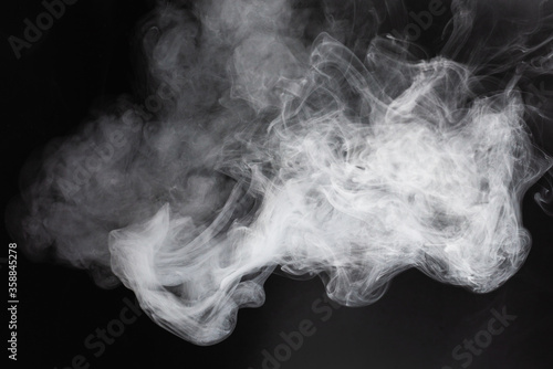 White steam on a black background. Tablou Canvas