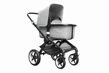 3D Render Of A Stylish Modern Stroller With Bassinet On A White Background
