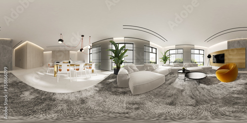 Canvastavla Minimalist Interior of modern living room 3D rendering