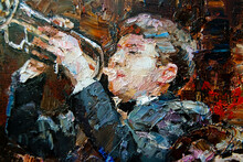 The Musician Plays Jazz Trumpet, The Background Is Brown. Palette Knife Technique Of Oil Painting And Brush, Painted In The Expressive Manner.