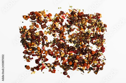 Fototapety, obrazy: Background texture of dried leaves of fruit tea. The concept of a tea shop or tea ceremony. Assorted.