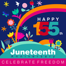 Vector Illustration On Happy 155th Juneteenth Anniversary In Abstract Colorful Floral Designs