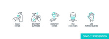 Prevention Line Icons Set Isol...
