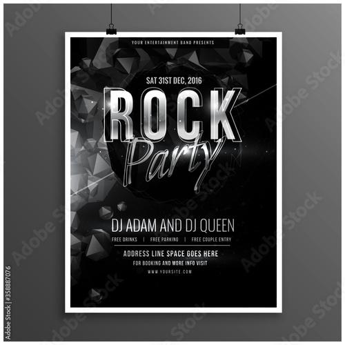Fototapeta black rock music party flyer poster template obraz