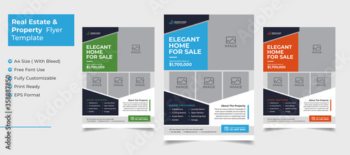 Obraz Creative and clean real estate flyer for real estate and property  business  with 3 color variation template - fototapety do salonu