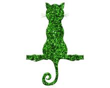 Cat Green Glitter On White Background, Kitten Pet Animal Illustration