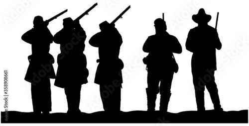 Leinwand Poster vector silhouettes of American Civil War Soldiers