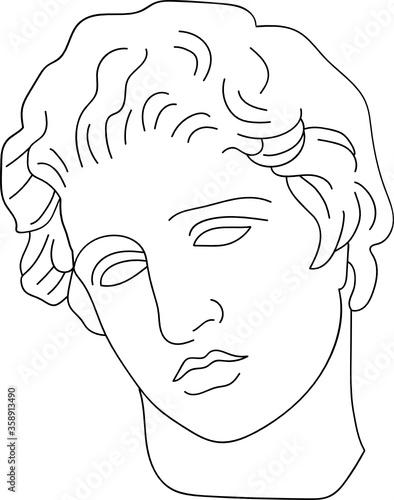 aesthetic greek bust sculpture line art face of a aman Canvas Print