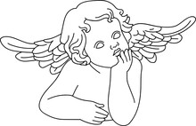 Minimalist Line Art Of A Child Baby Cherub Angel With Wings