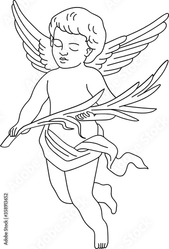 Leinwand Poster minimalist line art angel cherub with wings