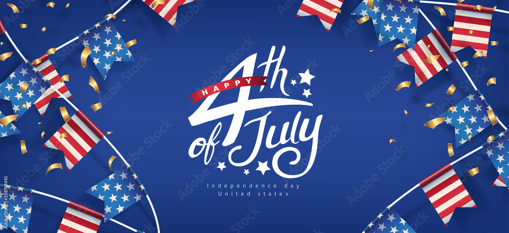 Fototapeta Independence day USA banner template american flags Garlands decor.4th of July celebration poster template.fourth of july calligraphy vector illustration .