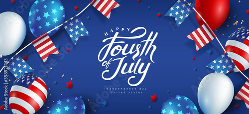 Fototapeta Independence day USA banner template american balloons flag and flags Garlands decor.4th of July celebration poster template.fourth of july calligraphy vector illustration . obraz