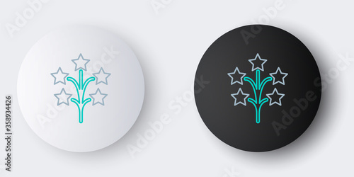 Fotografie, Tablou Line Fireworks icon isolated on grey background