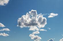 Blue Sky With Clouds.  Cloud-like A Teddy Bear, Pareidolia