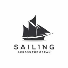 Vintage Sailing Ship Silhouett...