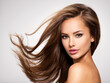 canvas print picture - Beautiful woman with long brown hair