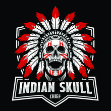 Skull Head Chief Indian, Design Element For Logo, Poster, Card, Banner, Emblem, T Shirt. Vector Illustration