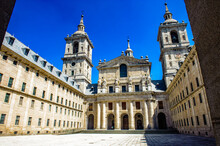 It's Royal Seat Of San Lorenzo De El Escorial, An Historical Residence Of The King Of Spain, In The Town Of San Lorenzo De El Escorial, Northwest Of The Capital, Madrid, In Spain.