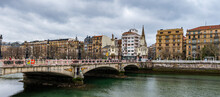 It's Maria Cristina Bridge Over The River Urumea, San Sebastian, Spain. Bridge Was Inaugurated On The January 20, 1905