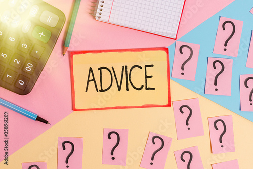 Photo Text sign showing Advice