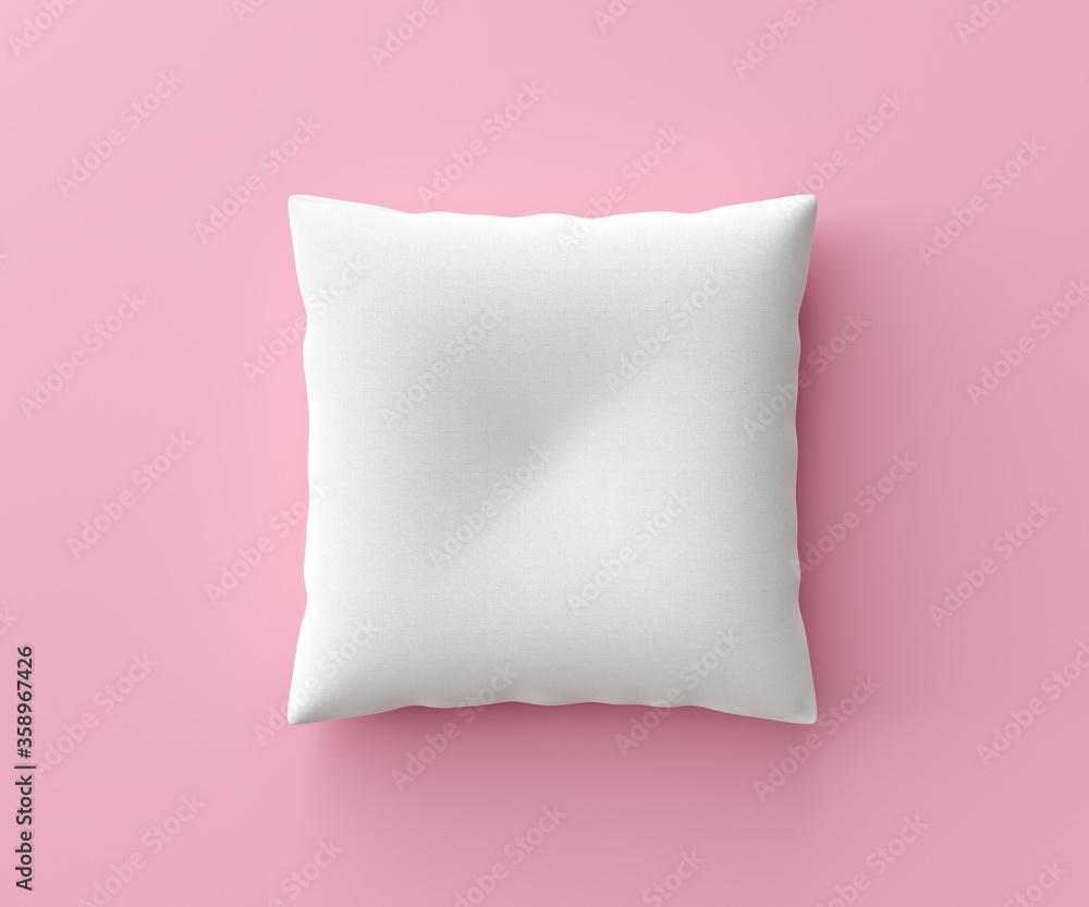 Fototapeta White pillow mockup on pink background with blank template. Pillow mockup or template for design. 3D rendering.