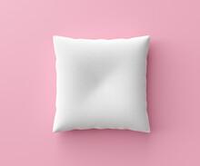 White Pillow Mockup On Pink Ba...