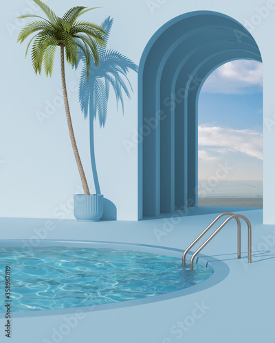 Dreamy terrace, over beach or desert landscape with cloudy sky, potted palm tree Wallpaper Mural
