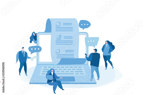 Online voting, with computer screen, voting document, voters making decisions. Vector illustration for web banner, infographics, mobile. electronic voting system