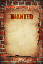 Old Blank Wanted Poster On Bri...