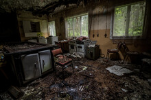 Kitchen In An Abandoned Holiday Center In The Middle Of The Forest