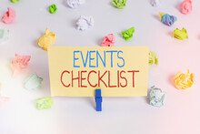 Conceptual Hand Writing Showing Events Checklist. Concept Meaning Invaluable Tool For Successfully Managing Your Affair Colored Crumpled Paper Empty Reminder White Floor Clothespin