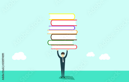 Carta da parati Education and lot of books, achievement concept, vector illustration