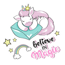 Cute Sleeping Unicorn On A White Background. Vector Illustration Of Funny Animals Isolated. Beautiful Card For Girls
