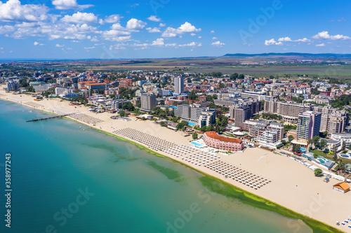 Obraz Aerial view of drone to the sea resort Sunny Beach on the Bulgarian Blak Sea coast - fototapety do salonu