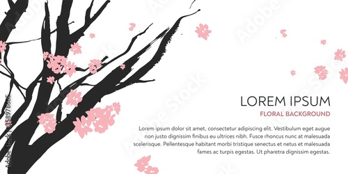 Fotografija Branches of the cherry tree with pink flowers drawn by hand by ink on a white background in the technique of Chinese graphics