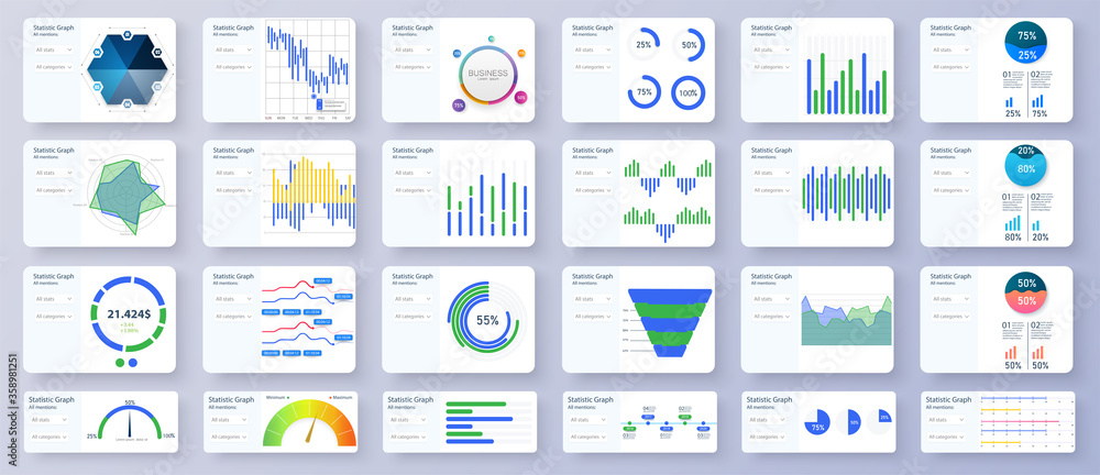 Fototapeta Modern multipurpose Infographics Templates. Admin panel interface great charts, graphs and diagrams. Bundle infographic elements data visualization vector design template.Can be used for presentations