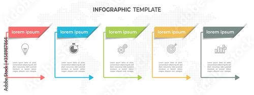 Cuadros en Lienzo Modern timeline infographic template 5 options.