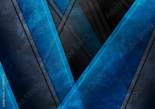 Fototapety niebieskie  blue-and-black-geometric-tech-material-grunge-background-vector-design