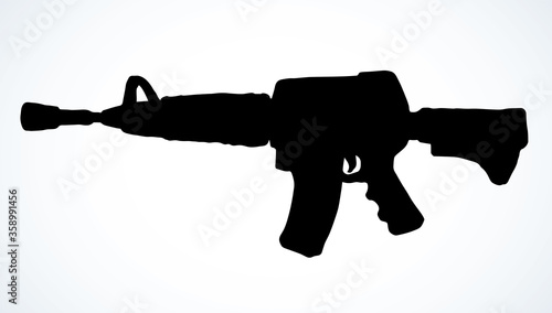 Photo Submachine gun. Vector drawing object