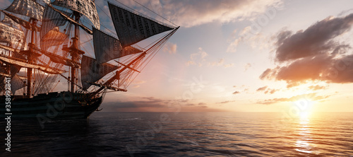 Photo Pirate ship sailing on the ocean at sunset