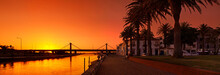 Sunset Panorama At Aveiro Wate...