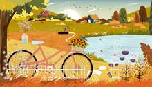 Autumn Landscape With Farmhous...