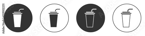 Obraz Black Paper glass with drinking straw and water icon isolated on white background. Soda drink glass. Fresh cold beverage symbol. Circle button. Vector Illustration. - fototapety do salonu