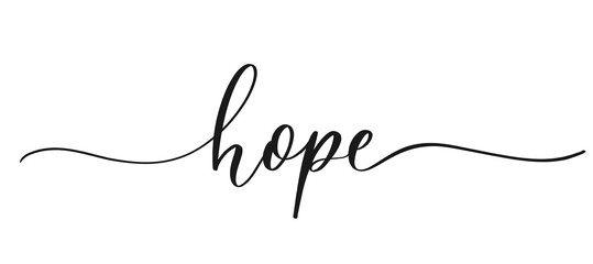 Hope - calligraphic inscription with smooth lines.