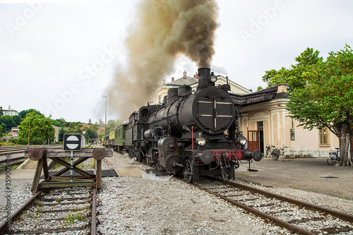 Fototapeta Old steam train at the train station of Most na Soci, Slovenia obraz na płótnie