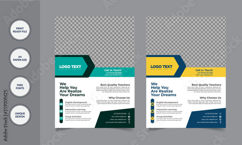 Cuadros en Lienzo College and University Admission Flyer template  Leaflet presentation, book cover, layout in A4 size