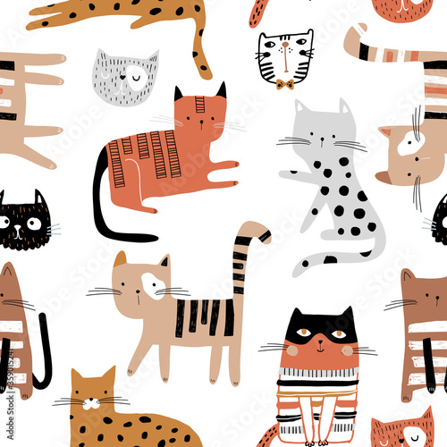 Seamless childish pattern with hand drawn cats in different poses. Creative kids hand drawn texture for fabric, wrapping, textile, wallpaper, apparel. Vector illustration